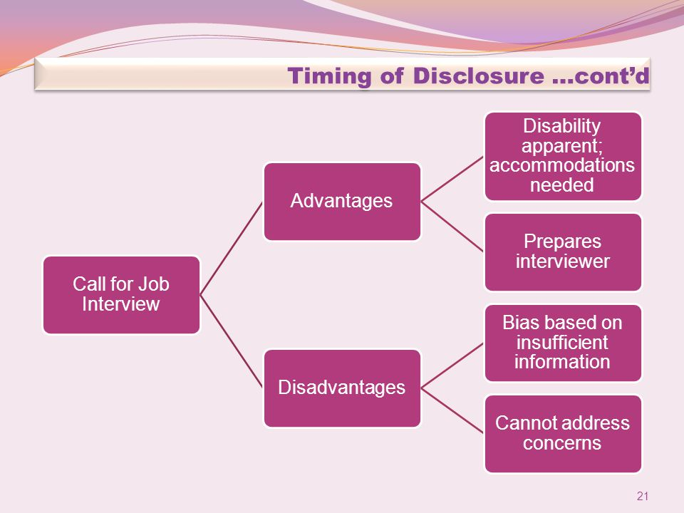 Timing of Disclosure …cont'd Call for Job Interview Advantages Disability apparent; accommodations needed Prepares interviewer Disadvantages Bias based on insufficient information Cannot address concerns 21