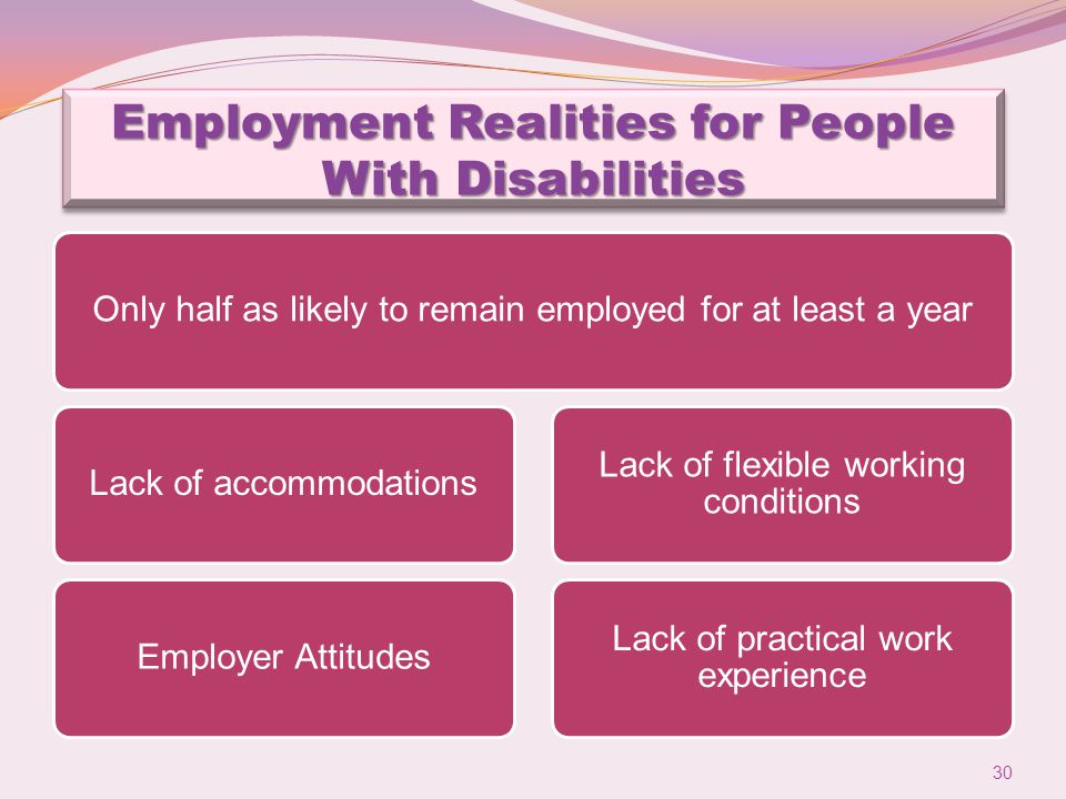 Employment Realities for People With Disabilities Only half as likely to remain employed for at least a yearLack of accommodationsEmployer Attitudes Lack of flexible working conditions Lack of practical work experience 30