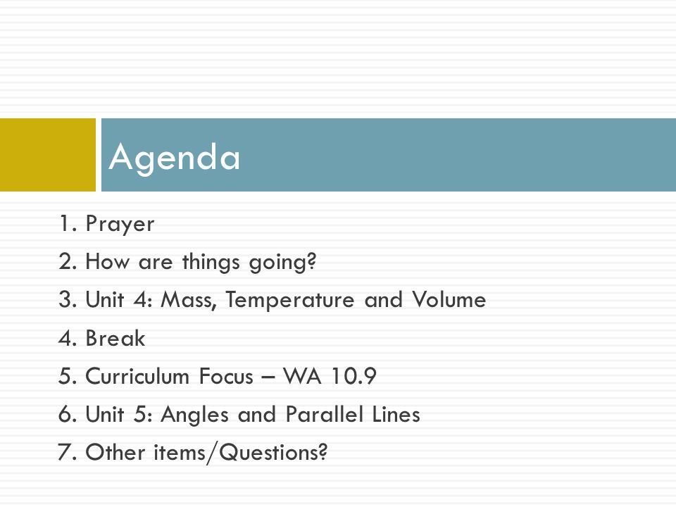 Unit 4: Mass, Temperature & Volume  Chapter Overview  p.