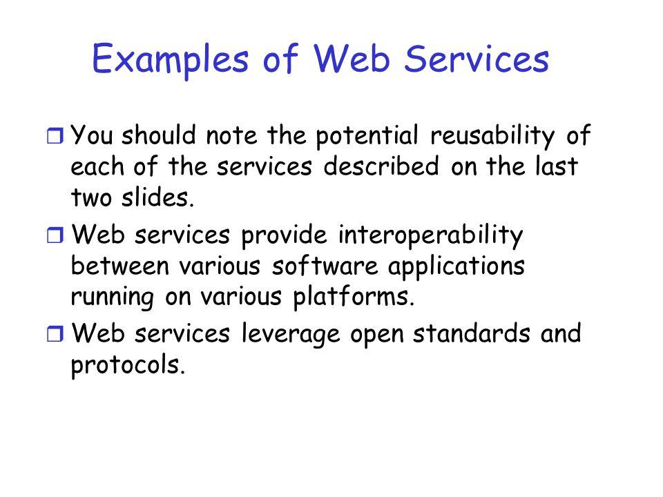 Web Services Architecture (1) Publish Service Directory Service Provider Service Requestor (2) Discover Services (3) Invoke Services