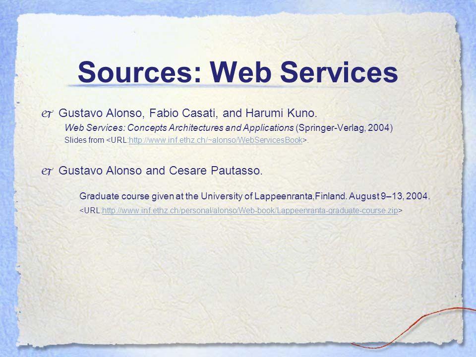 Sources: Web Services  Gustavo Alonso, Fabio Casati, and Harumi Kuno.