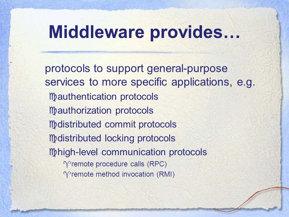 Middleware 1-22 TvS 1.24 General structure of a distributed system as middleware.