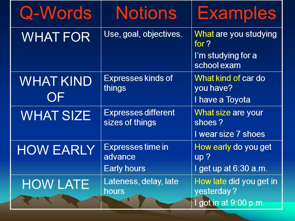Q-WordsNotionsExamples WHAT FOR Use, goal, objectives.What are you studying for ? I'm studying for a school exam WHAT KIND OF Expresses kinds of thing