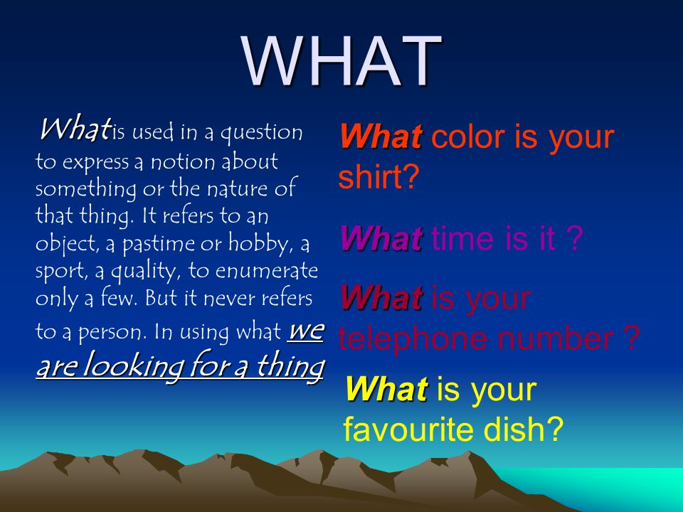WHAT What we are looking for a thing What is used in a question to express a notion about something or the nature of that thing. It refers to an objec