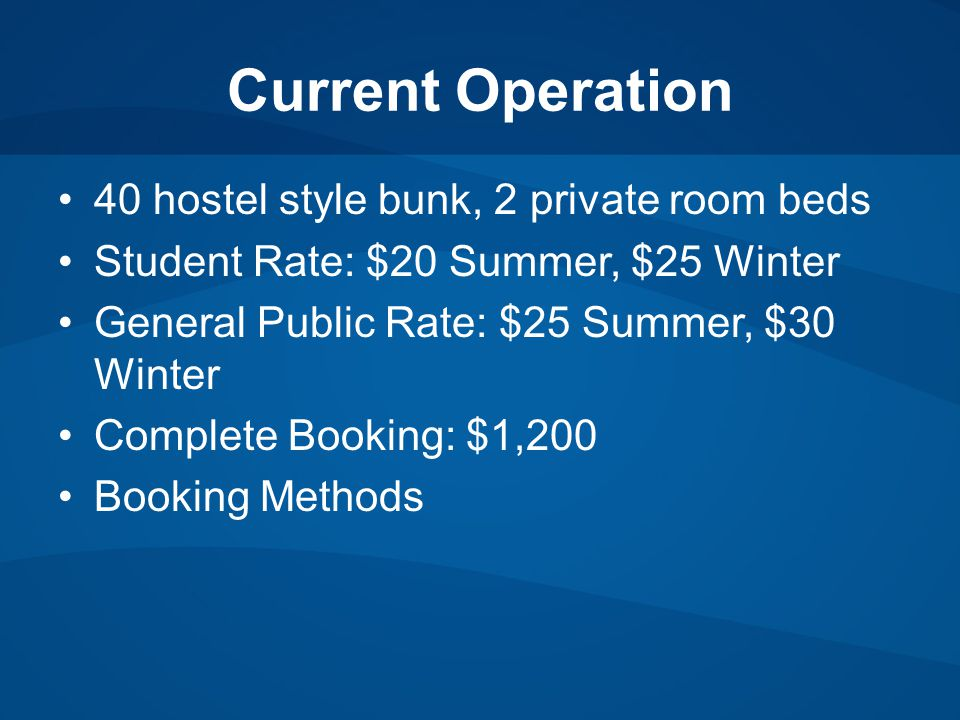Current Operation 40 hostel style bunk, 2 private room beds Student Rate: $20 Summer, $25 Winter General Public Rate: $25 Summer, $30 Winter Complete Booking: $1,200 Booking Methods