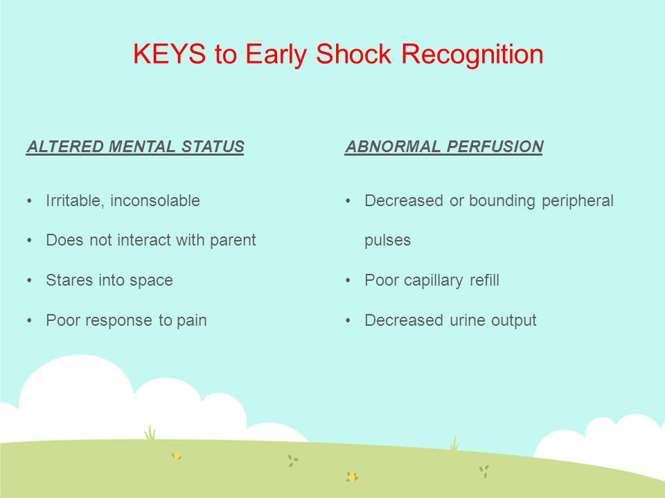 ALTERED MENTAL STATUS Irritable, inconsolable Does not interact with parent Stares into space Poor response to pain KEYS to Early Shock Recognition AB
