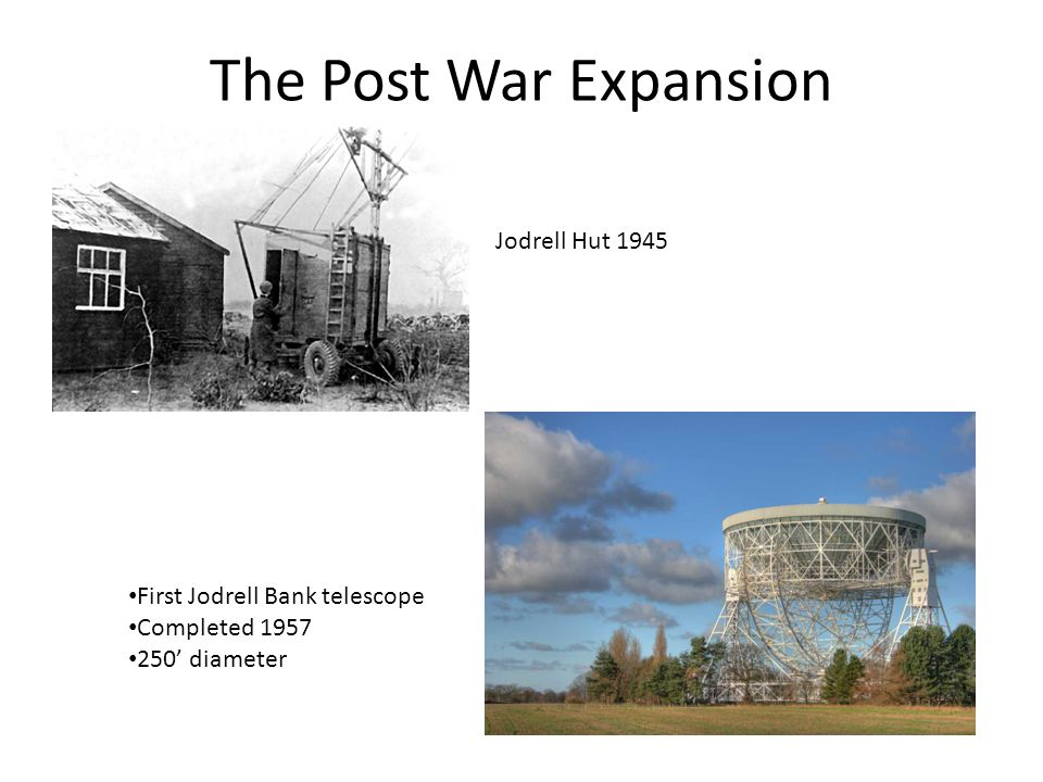 The Post War Expansion Jodrell Hut 1945 First Jodrell Bank telescope Completed 1957 250' diameter