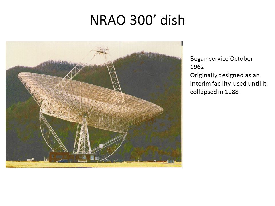 NRAO 300' dish Began service October 1962 Originally designed as an interim facility, used until it collapsed in 1988