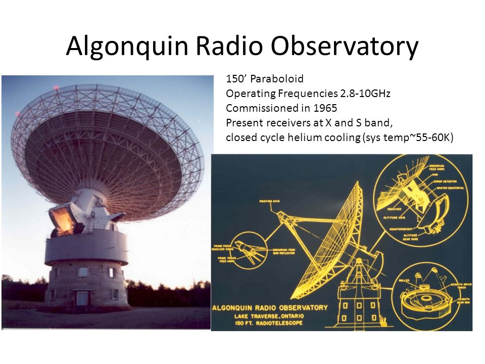 Algonquin Radio Observatory 150' Paraboloid Operating Frequencies 2.8-10GHz Commissioned in 1965 Present receivers at X and S band, closed cycle heliu