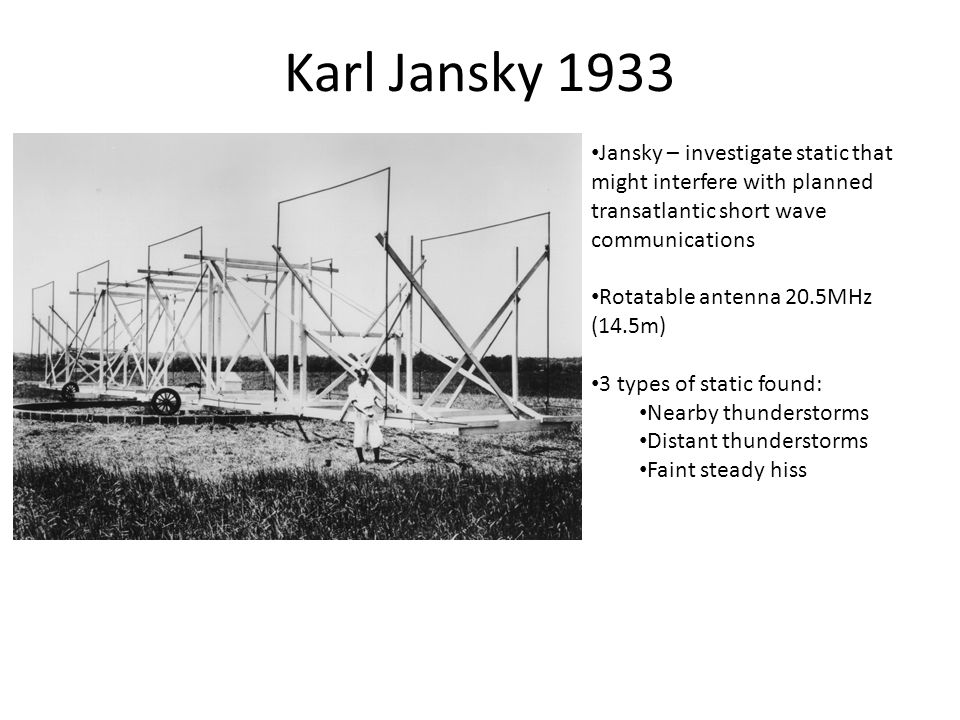 Karl Jansky 1933 Jansky – investigate static that might interfere with planned transatlantic short wave communications Rotatable antenna 20.5MHz (14.5