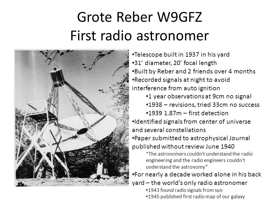 Grote Reber W9GFZ First radio astronomer Telescope built in 1937 in his yard 31' diameter, 20' focal length Built by Reber and 2 friends over 4 months