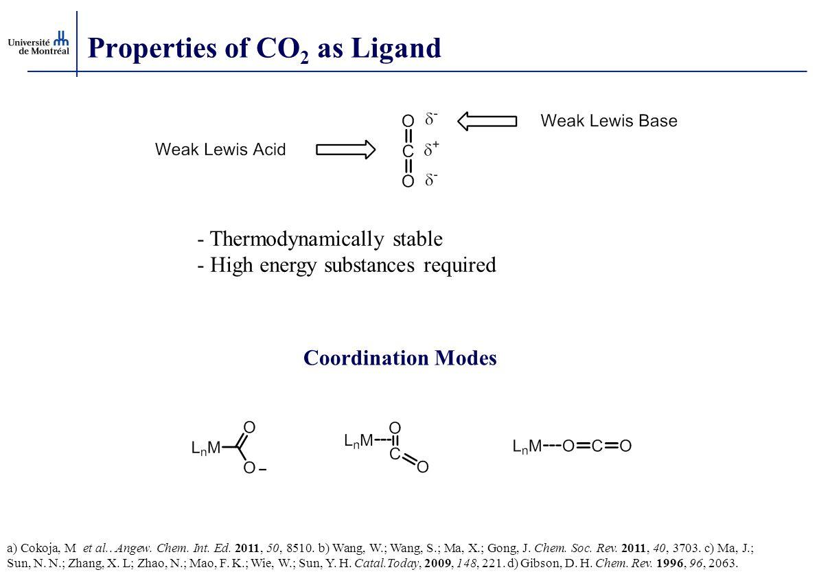Properties of CO 2 as Ligand a) Cokoja, M et al.. Angew. Chem. Int. Ed. 2011, 50, 8510. b) Wang, W.; Wang, S.; Ma, X.; Gong, J. Chem. Soc. Rev. 2011,