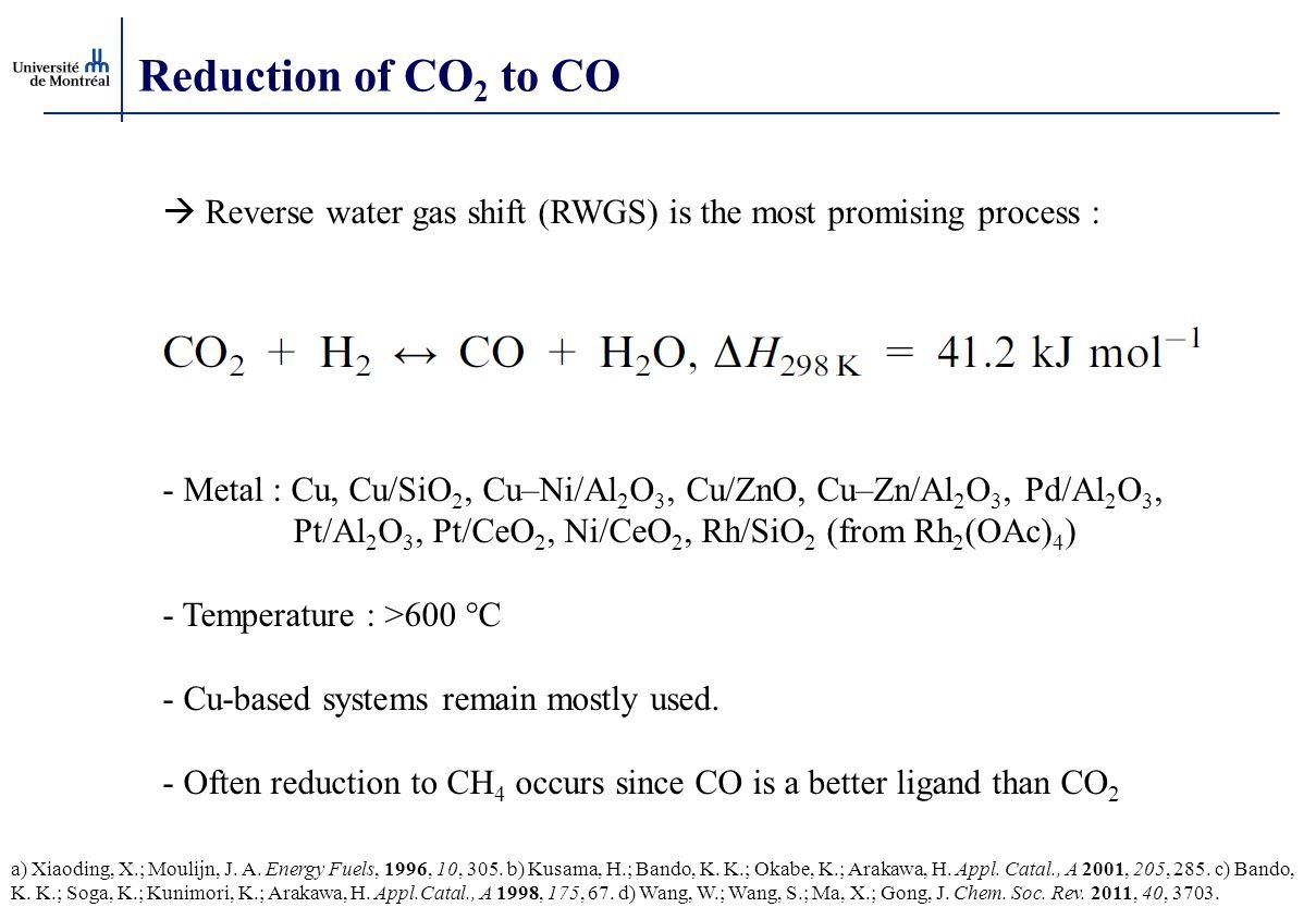 Reduction of CO 2 to CO  Reverse water gas shift (RWGS) is the most promising process : - Metal : Cu, Cu/SiO 2, Cu–Ni/Al 2 O 3, Cu/ZnO, Cu–Zn/Al 2 O