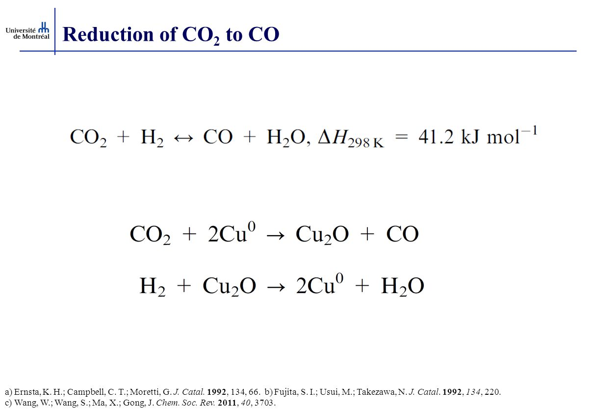 Reduction of CO 2 to CO a) Ernsta, K.H.; Campbell, C.