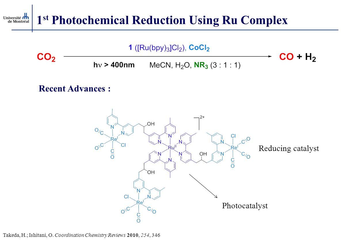 1 st Photochemical Reduction Using Ru Complex Takeda, H.; Ishitani, O. Coordination Chemistry Reviews 2010, 254, 346 Recent Advances : Photocatalyst R