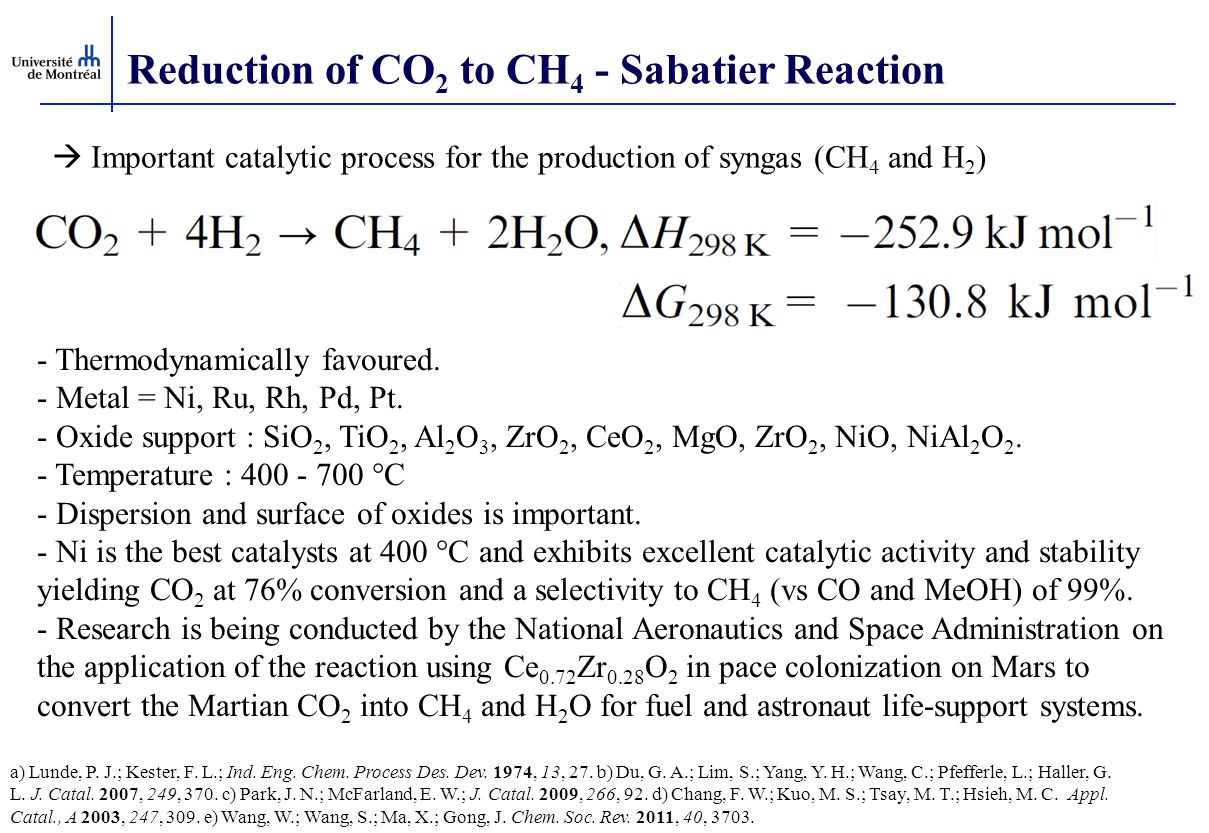 Reduction of CO 2 to CH 4 - Sabatier Reaction  Important catalytic process for the production of syngas (CH 4 and H 2 ) a) Lunde, P.