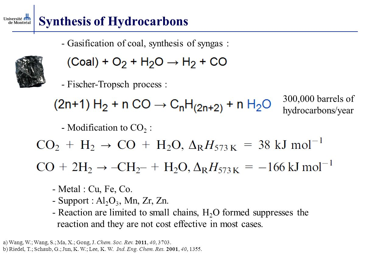 Synthesis of Hydrocarbons - Fischer-Tropsch process : - Metal : Cu, Fe, Co. - Support : Al 2 O 3, Mn, Zr, Zn. - Reaction are limited to small chains,