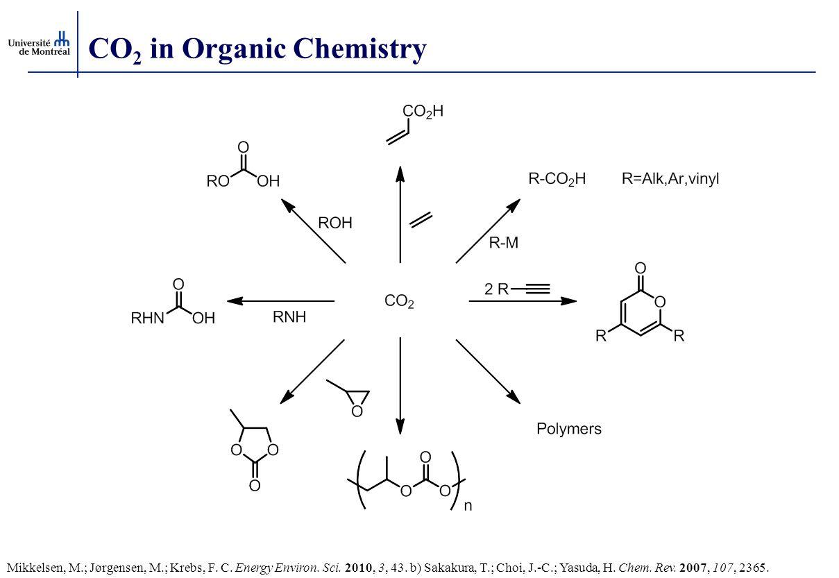 CO 2 in Organic Chemistry Mikkelsen, M.; Jørgensen, M.; Krebs, F. C. Energy Environ. Sci. 2010, 3, 43. b) Sakakura, T.; Choi, J.-C.; Yasuda, H. Chem.