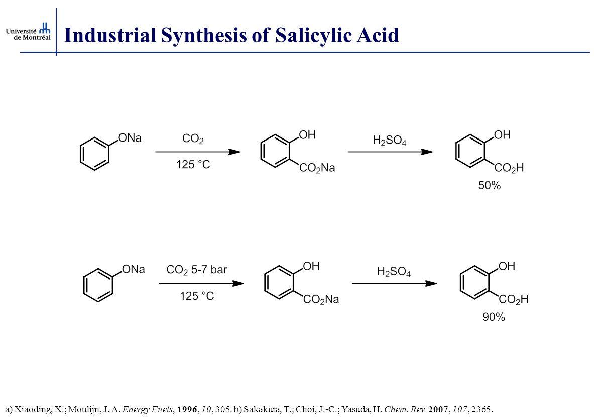 Industrial Synthesis of Salicylic Acid a) Xiaoding, X.; Moulijn, J. A. Energy Fuels, 1996, 10, 305. b) Sakakura, T.; Choi, J.-C.; Yasuda, H. Chem. Rev
