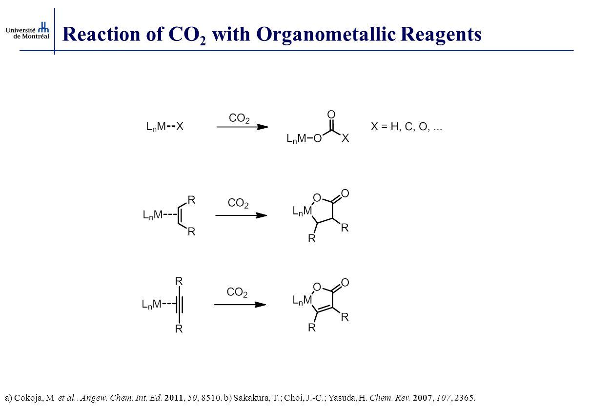 Reaction of CO 2 with Organometallic Reagents a) Cokoja, M et al.. Angew. Chem. Int. Ed. 2011, 50, 8510. b) Sakakura, T.; Choi, J.-C.; Yasuda, H. Chem