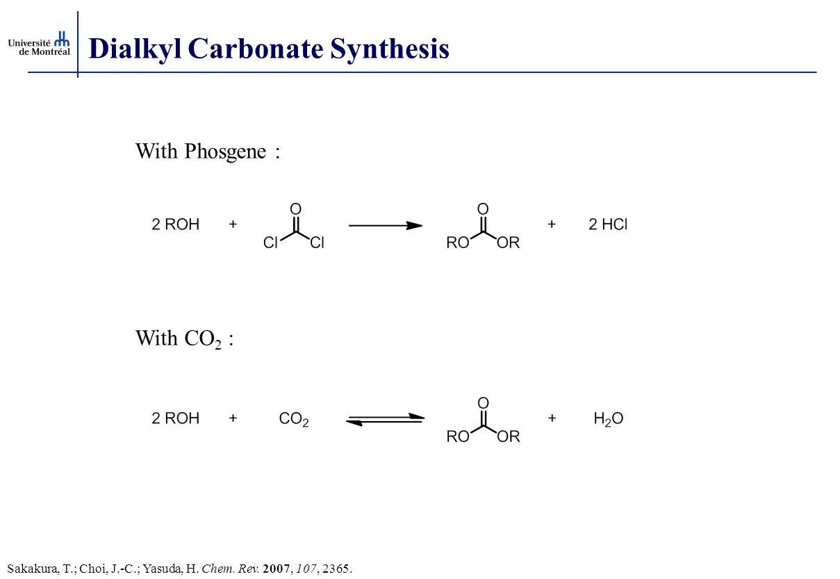 Dialkyl Carbonate Synthesis With Phosgene : With CO 2 : Sakakura, T.; Choi, J.-C.; Yasuda, H. Chem. Rev. 2007, 107, 2365.