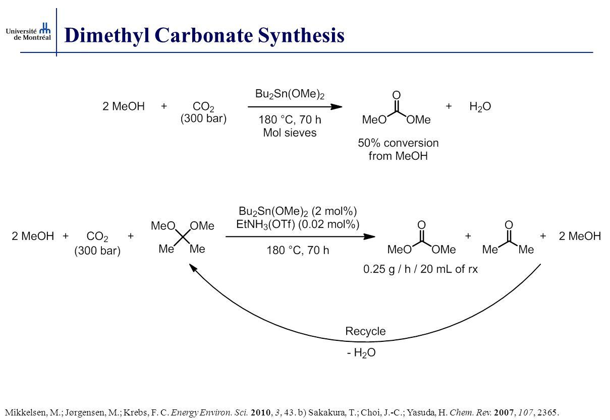 Dimethyl Carbonate Synthesis Mikkelsen, M.; Jørgensen, M.; Krebs, F. C. Energy Environ. Sci. 2010, 3, 43. b) Sakakura, T.; Choi, J.-C.; Yasuda, H. Che