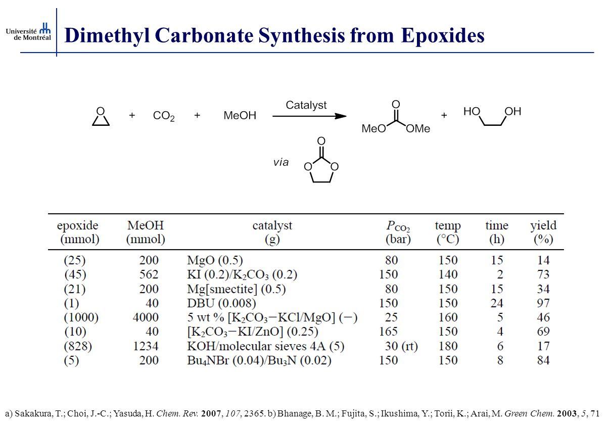 Dimethyl Carbonate Synthesis from Epoxides a) Sakakura, T.; Choi, J.-C.; Yasuda, H. Chem. Rev. 2007, 107, 2365. b) Bhanage, B. M.; Fujita, S.; Ikushim