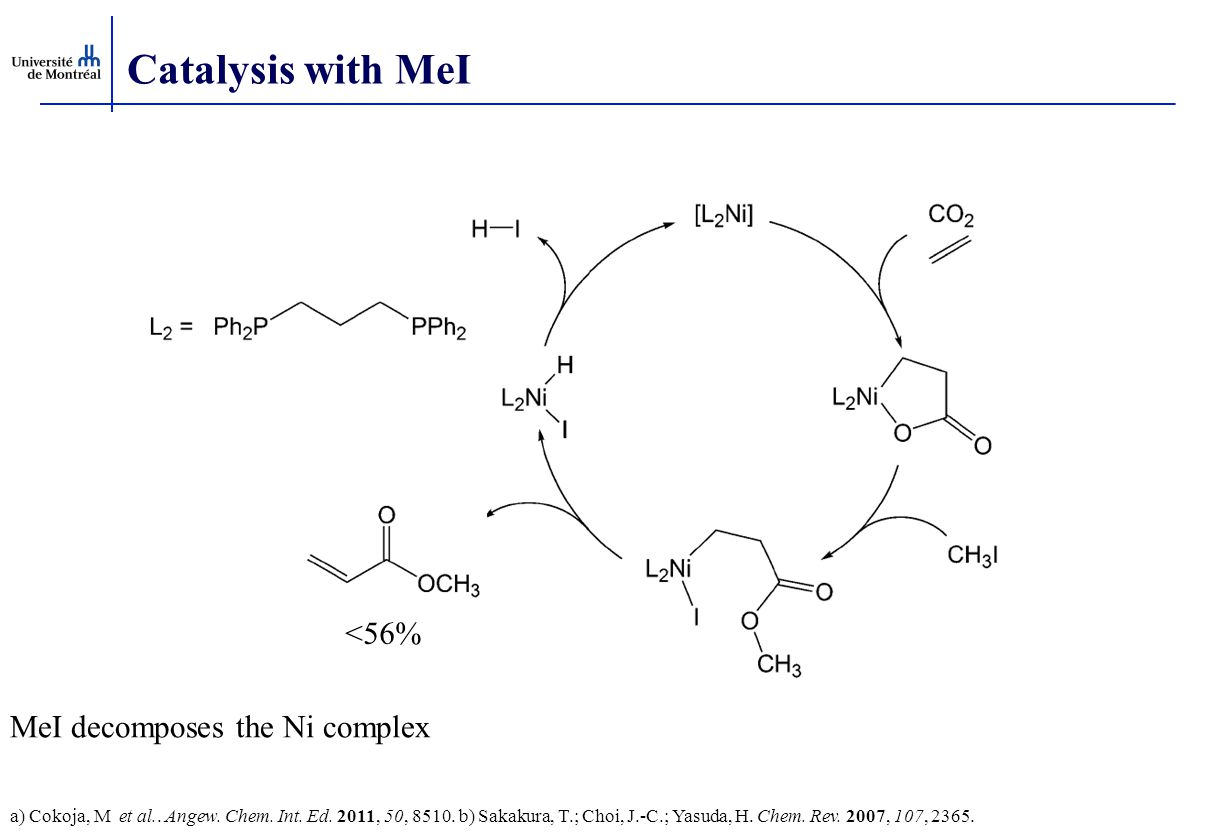 Catalysis with MeI a) Cokoja, M et al.. Angew. Chem. Int. Ed. 2011, 50, 8510. b) Sakakura, T.; Choi, J.-C.; Yasuda, H. Chem. Rev. 2007, 107, 2365. <56