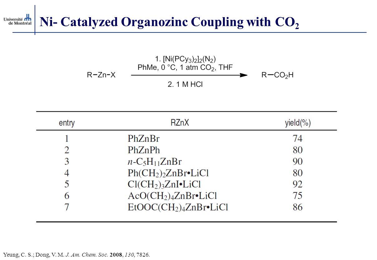 Ni- Catalyzed Organozinc Coupling with CO 2 Yeung, C. S.; Dong, V. M. J. Am. Chem. Soc. 2008, 130, 7826.