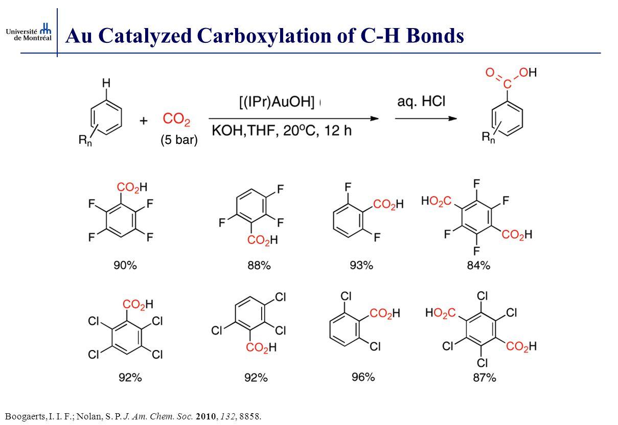 Au Catalyzed Carboxylation of C-H Bonds Boogaerts, I. I. F.; Nolan, S. P. J. Am. Chem. Soc. 2010, 132, 8858.