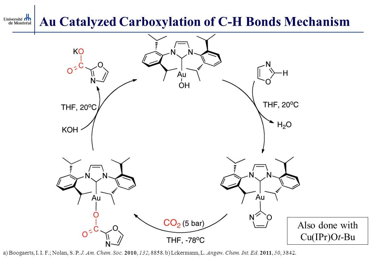 Au Catalyzed Carboxylation of C-H Bonds Mechanism a) Boogaerts, I. I. F.; Nolan, S. P. J. Am. Chem. Soc. 2010, 132, 8858. b) Lckermann, L. Angew. Chem