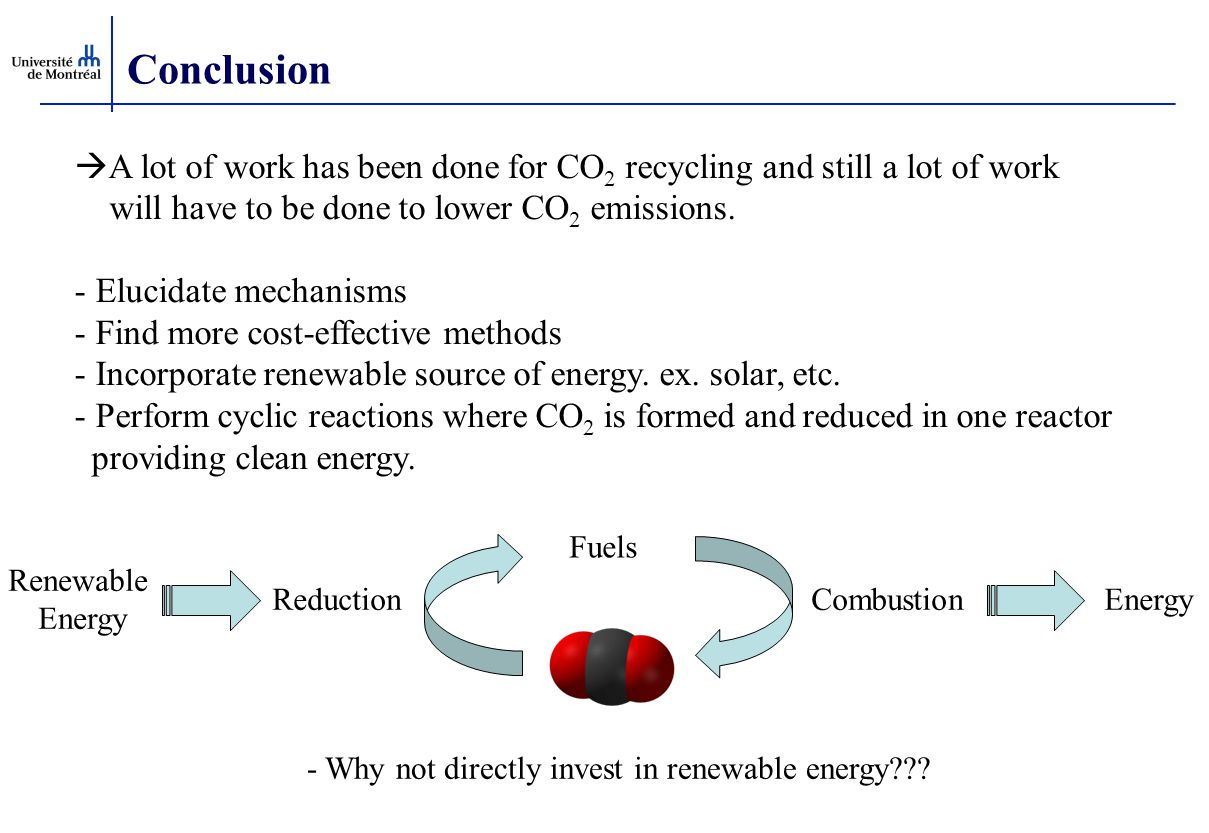 Conclusion  A lot of work has been done for CO 2 recycling and still a lot of work will have to be done to lower CO 2 emissions. - Elucidate mechanis