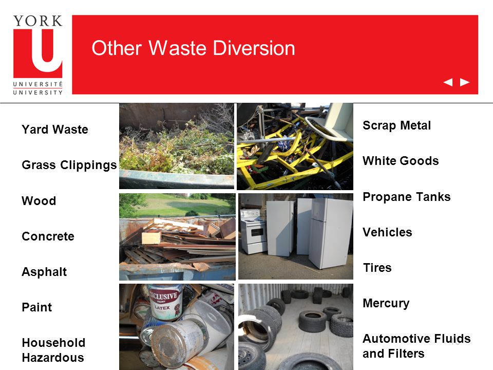 Other Waste Diversion Yard Waste Grass Clippings Wood Concrete Asphalt Paint Household Hazardous 10 Scrap Metal White Goods Propane Tanks Vehicles Tires Mercury Automotive Fluids and Filters