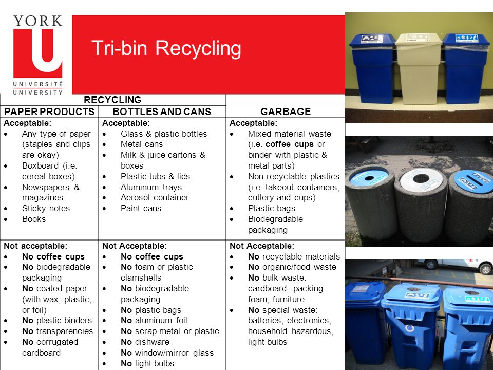 Tri-bin Recycling RECYCLING GARBAGE PAPER PRODUCTSBOTTLES AND CANS Acceptable:  Any type of paper (staples and clips are okay)  Boxboard (i.e.