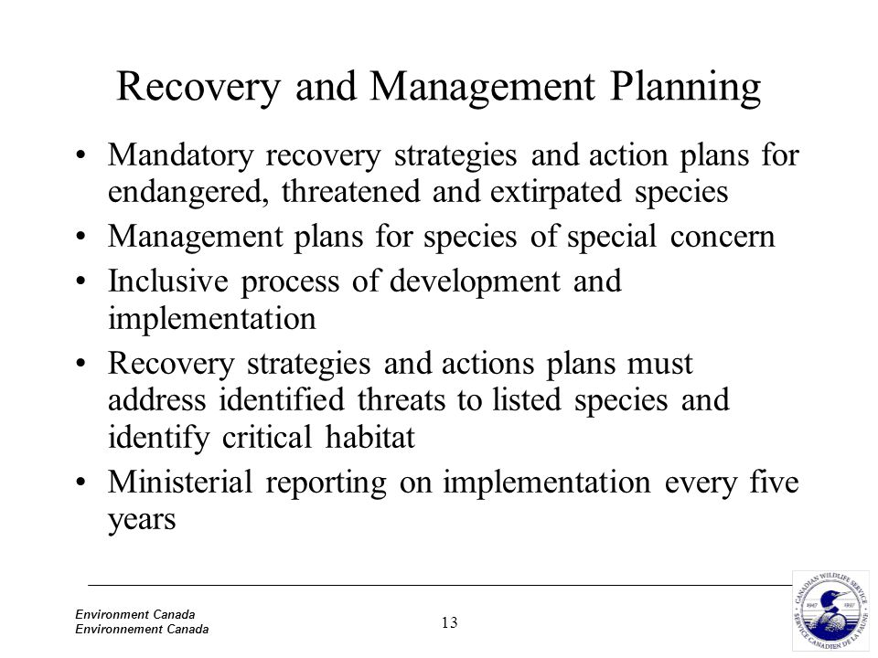 13 Environment Canada Environnement Canada Recovery and Management Planning Mandatory recovery strategies and action plans for endangered, threatened and extirpated species Management plans for species of special concern Inclusive process of development and implementation Recovery strategies and actions plans must address identified threats to listed species and identify critical habitat Ministerial reporting on implementation every five years
