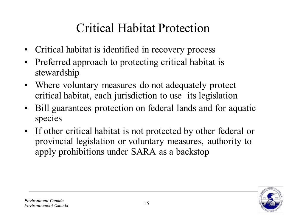 15 Environment Canada Environnement Canada Critical Habitat Protection Critical habitat is identified in recovery process Preferred approach to protec