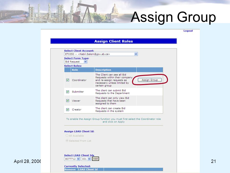 April 28, 200621 Assign Group