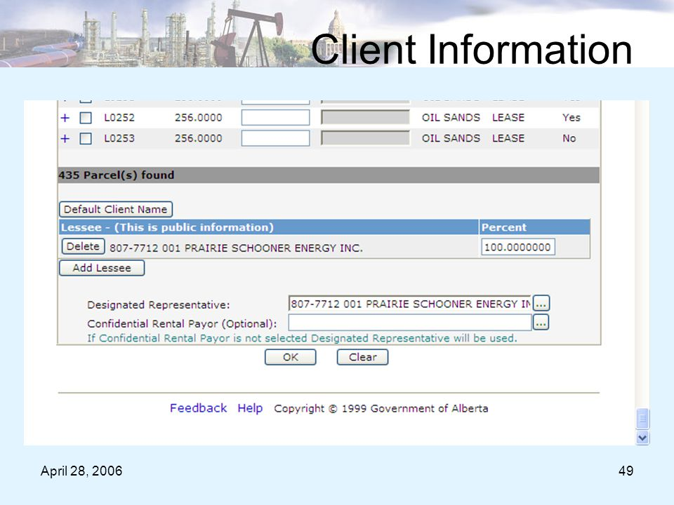 April 28, 200649 Client Information