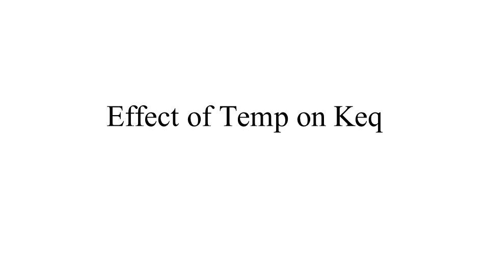 Effect of Temp on Keq