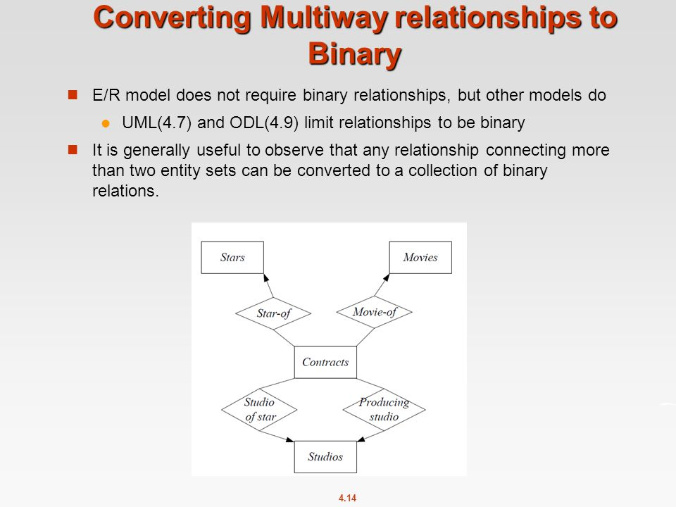 4.14 Converting Multiway relationships to Binary E/R model does not require binary relationships, but other models do UML(4.7) and ODL(4.9) limit relationships to be binary It is generally useful to observe that any relationship connecting more than two entity sets can be converted to a collection of binary relations.