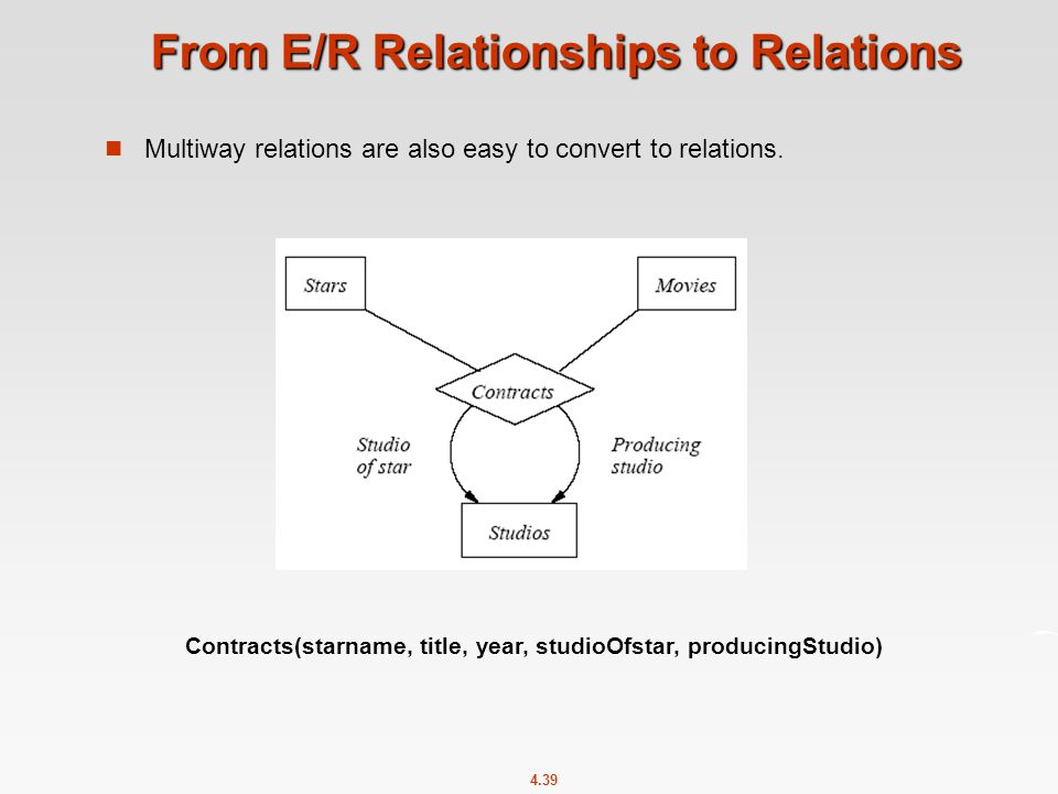 4.39 From E/R Relationships to Relations Multiway relations are also easy to convert to relations.