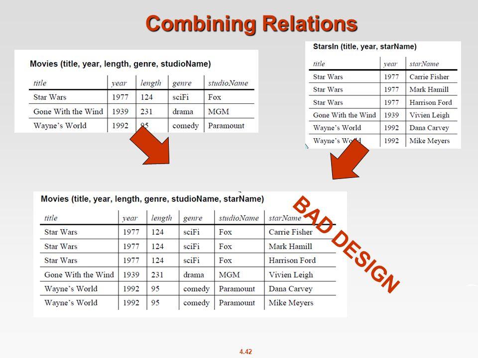 4.42 Combining Relations BAD DESIGN