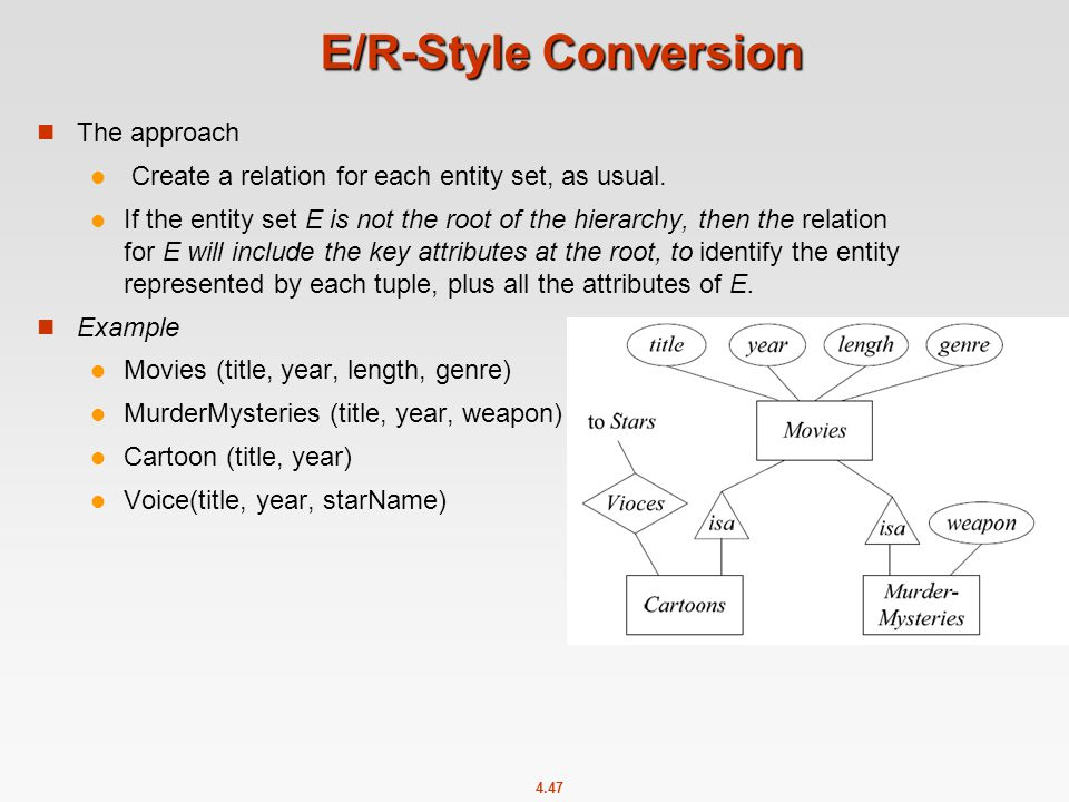 4.47 E/R-Style Conversion The approach Create a relation for each entity set, as usual.