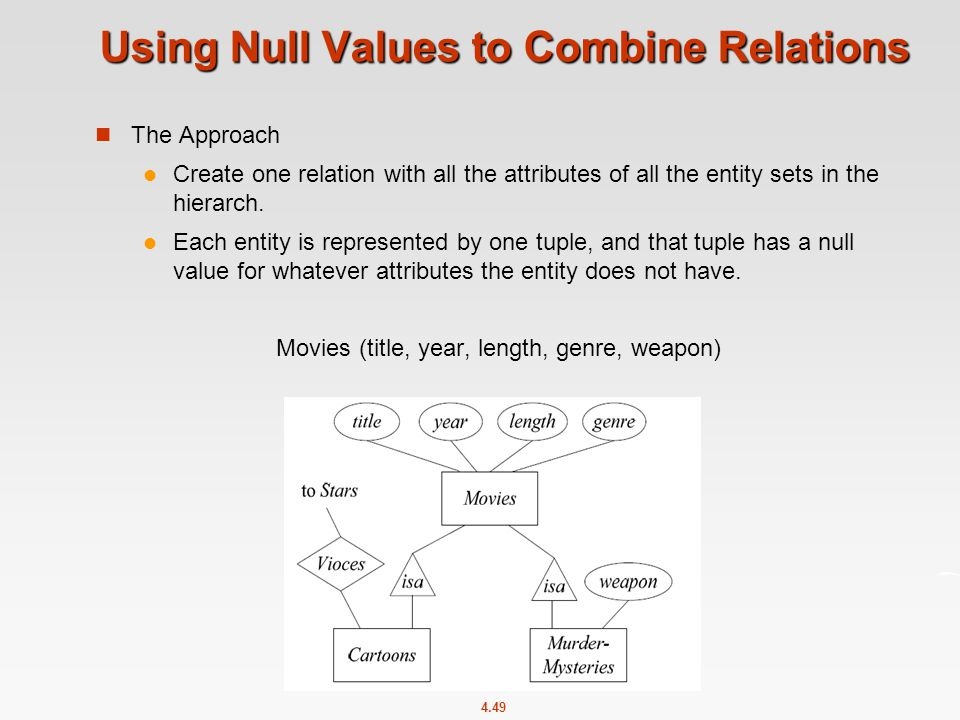 4.49 Using Null Values to Combine Relations The Approach Create one relation with all the attributes of all the entity sets in the hierarch.