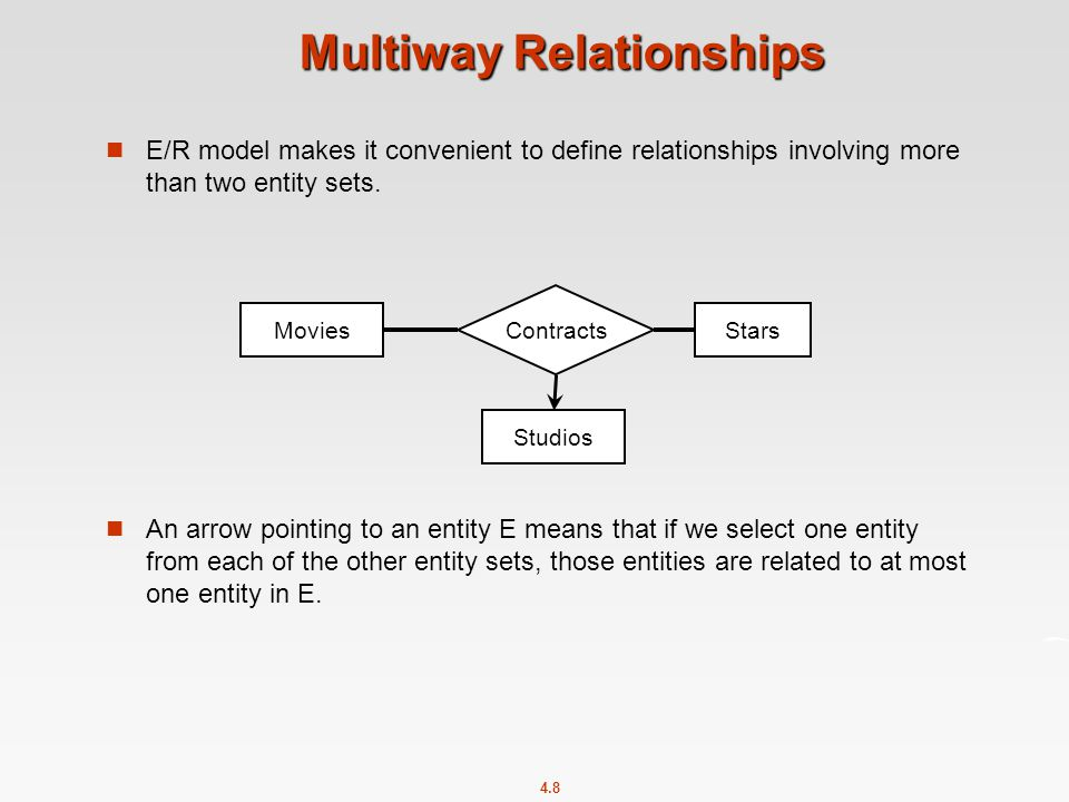 4.8 Multiway Relationships E/R model makes it convenient to define relationships involving more than two entity sets.