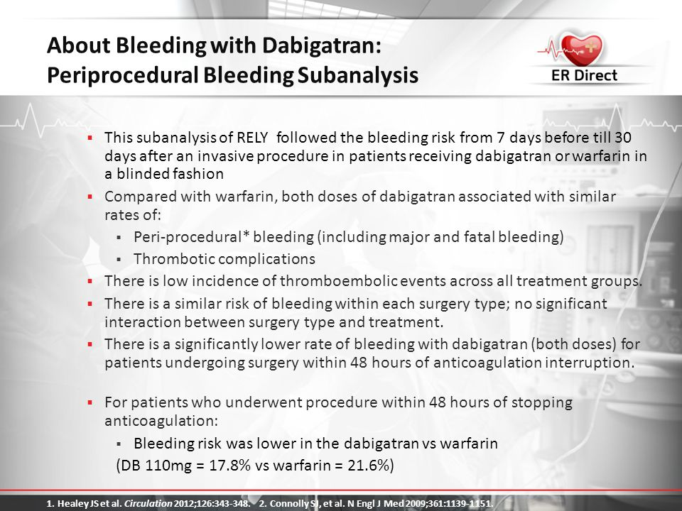 About Bleeding with Dabigatran: Periprocedural Bleeding Subanalysis  This subanalysis of RELY followed the bleeding risk from 7 days before till 30 d