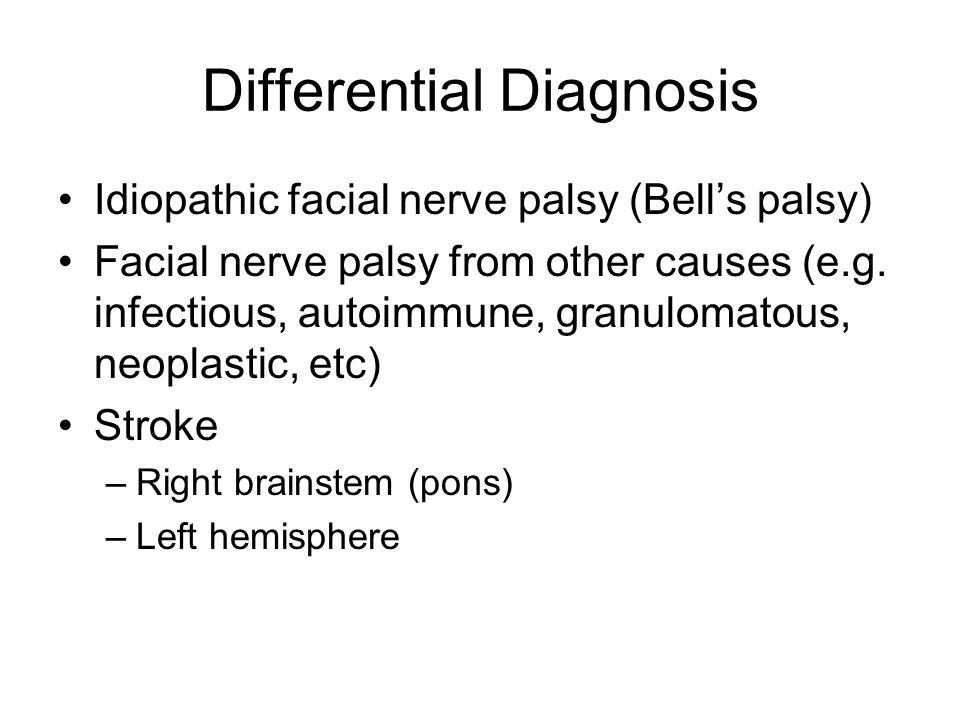 Differential Diagnosis Idiopathic facial nerve palsy (Bell's palsy) Facial nerve palsy from other causes (e.g. infectious, autoimmune, granulomatous,