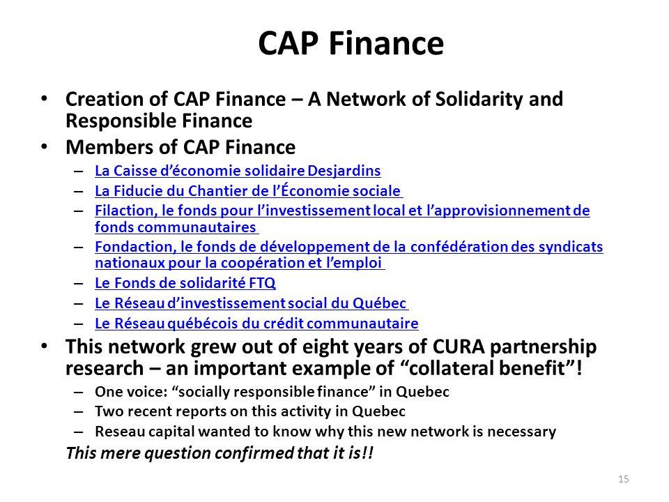 CAP Finance Creation of CAP Finance – A Network of Solidarity and Responsible Finance Members of CAP Finance – La Caisse d'économie solidaire Desjardi