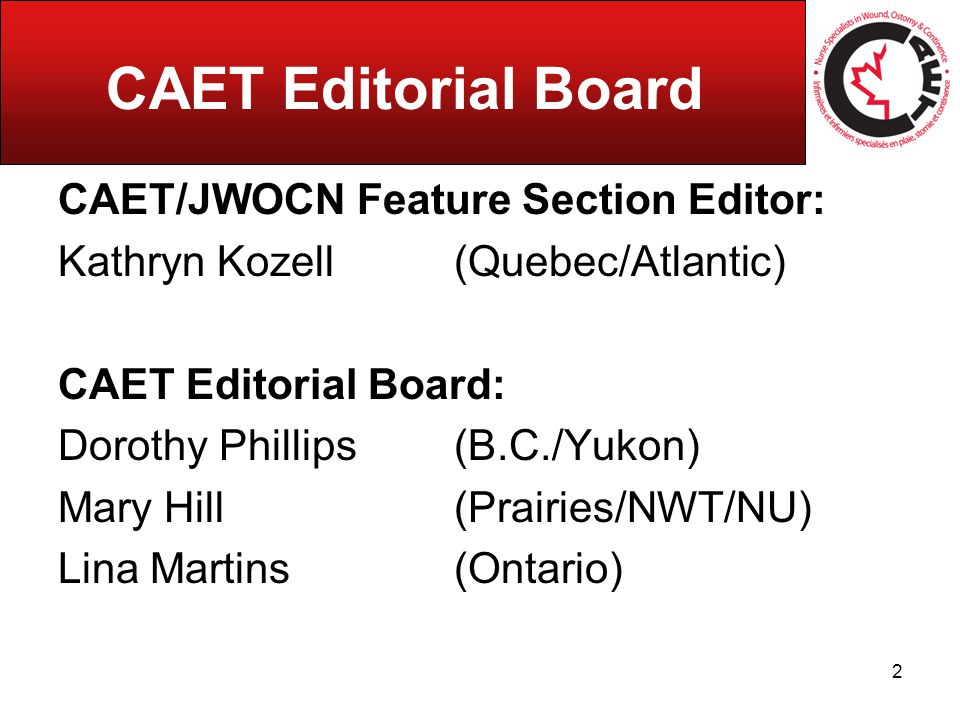 CAET Editorial Board CAET/JWOCN Feature Section Editor: Kathryn Kozell (Quebec/Atlantic) CAET Editorial Board: Dorothy Phillips (B.C./Yukon) Mary Hill (Prairies/NWT/NU) Lina Martins (Ontario) 2