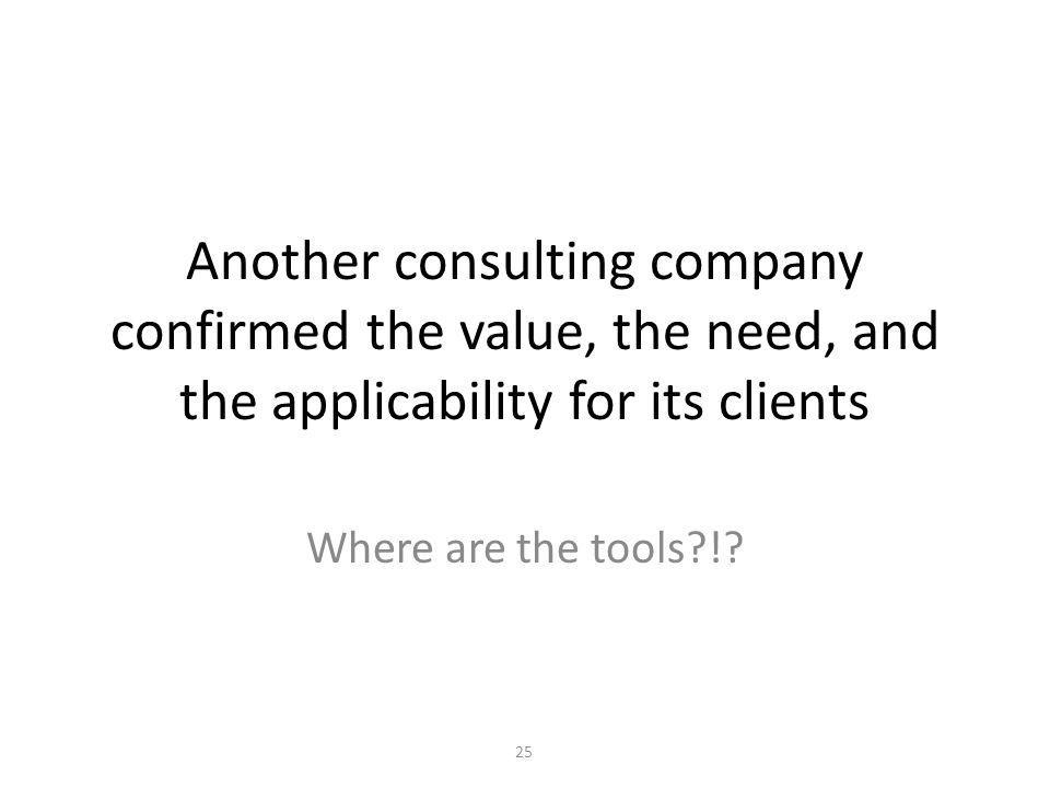 Another consulting company confirmed the value, the need, and the applicability for its clients Where are the tools?!.